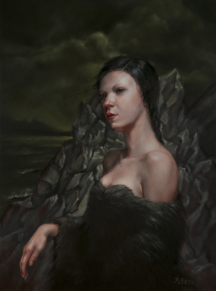 Rachel Bess - Looking for Lovecraft, 2017, oil on Dibond, 8 by 6 inches / 11.75 by 9.5 inches framed