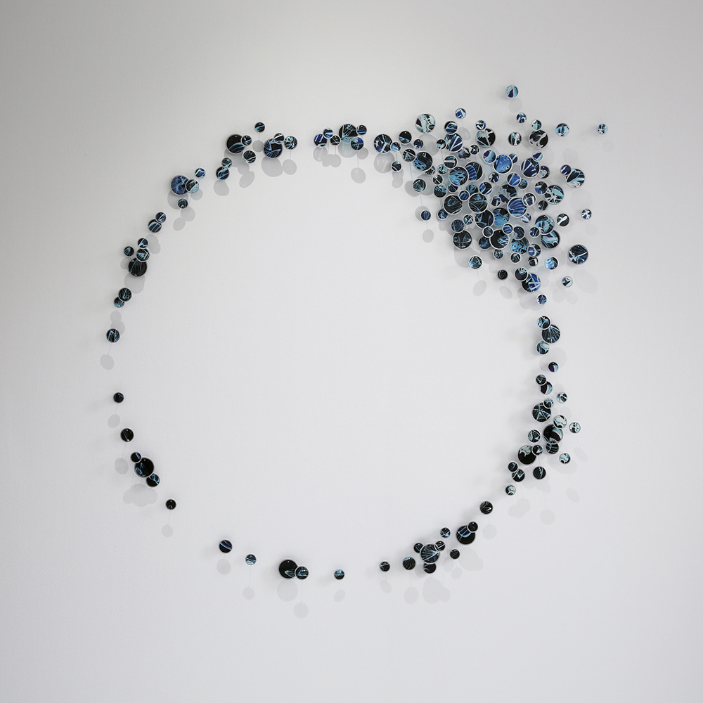 Alan Bur Johnson - Baily's Blues (SOLD), 2020, photographic transparencies, metal frames, dissection pins, 55 x 55 x 2 inches