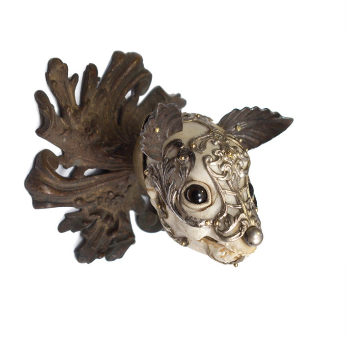Jessica Joslin - Choco, 2020, antique hardware and findings, brass, bone, glove leather, glass eyes, 3.75 x 3.75 x 3.5 inches