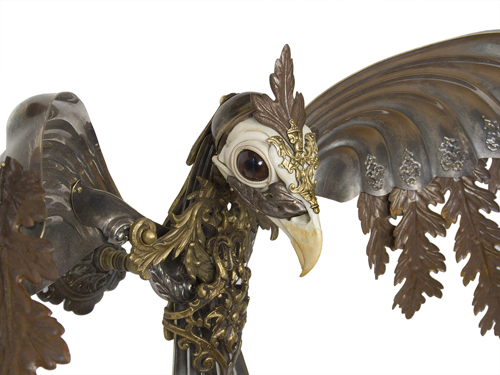 Jessica Joslin - Lyra (detail), 2019, antique hardware and findings, silver, brass, cast plastic, glove leather, glass eyes, 17 x 40 x 18 inches