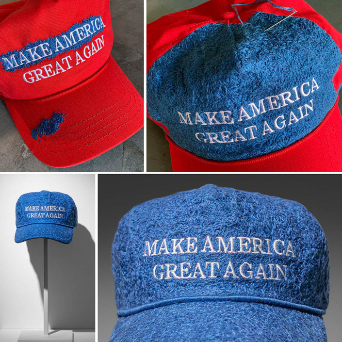 "Ann Morton - Blue MAGA, 2020, official ""Donald J. Trump Make America Great Again Hat - Red Red Cap/Red"", blue embroidery floss, 8 x 10.5 x 6 inches (16.5 inches tall with stand), unique"