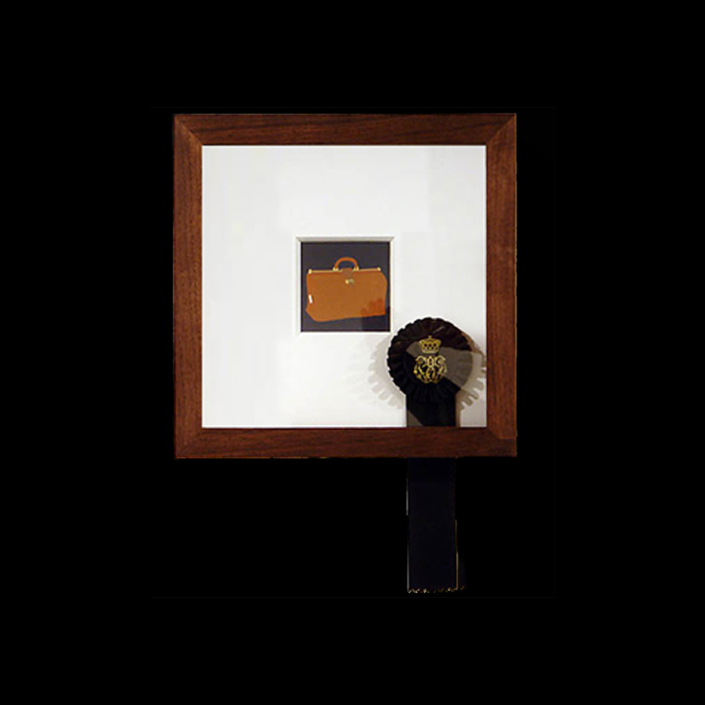 Carrie Marill - Duke and Duchess Series (SOLD): 2261: A lady's jewelry case, Goyard Paris, paper, walnut, gouache and ribbon, 13.5 by 13.5 inches framed, not including ribbon