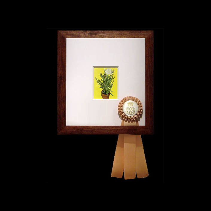 Carrie Marill - Duke and Duchess Series (SOLD): 2482: Edward molyneux, Carnation in a Pot (American b. 1896), paper, walnut, gouache and ribbon, 14.25 by 13.25 inches framed, not including ribbon