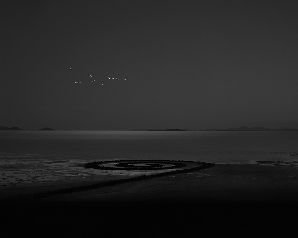 """Michael Lundgren - Target Flares over the Spiral Jetty, 2020, archival pigment print, 32"""" x 40"""" unframed, 37"""" x 44.5"""" framed, edition of 7"""