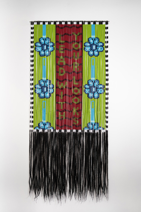 Merryn Omotayo Alaka - Lead With Your Looks, 2021, Kanekalon hair, pony beads, 72 by 32.5 inches