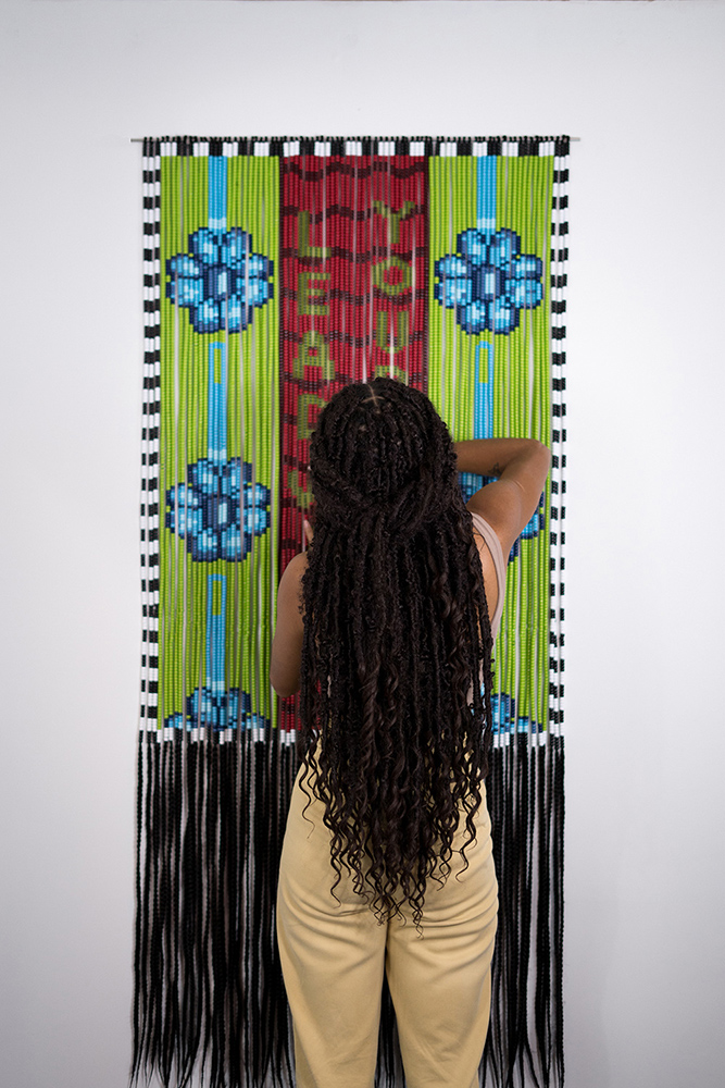 Merryn Omotayo Alaka - Lead With Your Looks (detail), 2021, Kanekalon hair, pony beads, 72 by 32.5 inches