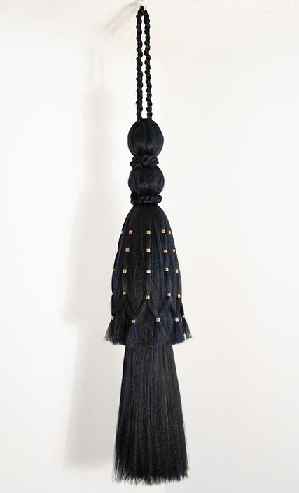 "Merryn Omotayo Alaka and Sam Fresquez - It's Mine, I Bought It - Single Tassel (SOLD), 2018-2020, Kanekalon hair and braid clamps, approximately 72"" x 24"""
