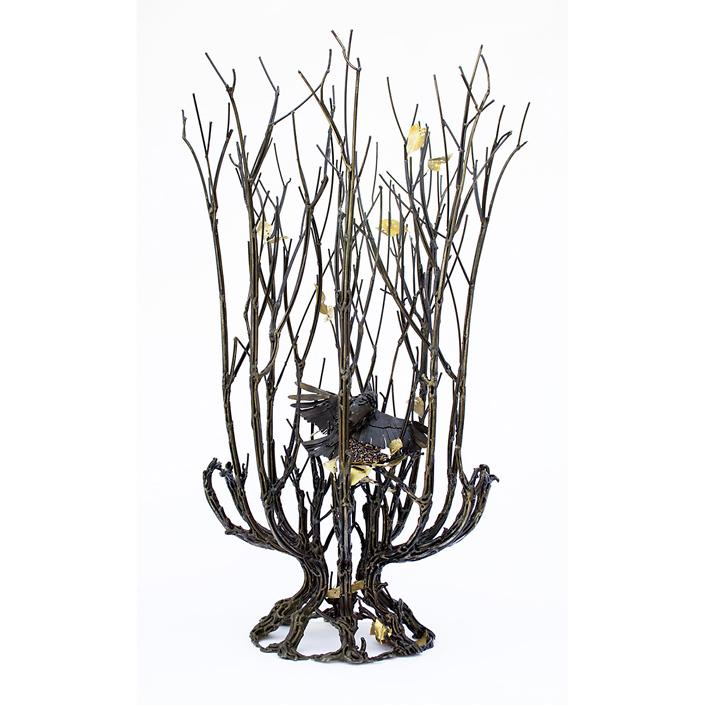 Kim Cridler - Clearing, 2020, steel, garnet, brass, 28 x 16 x 16 inches
