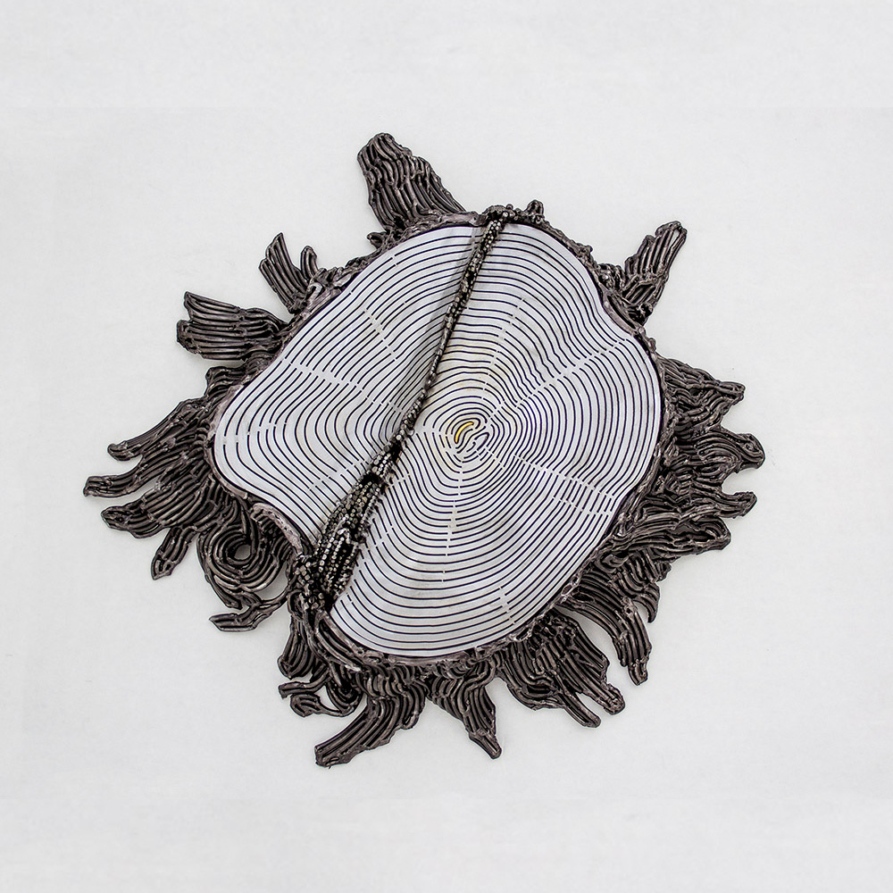 Kim Cridler - Ingrained, 2021, steel, 22kt gold, silver, 22 x 20 x 4.5 inches