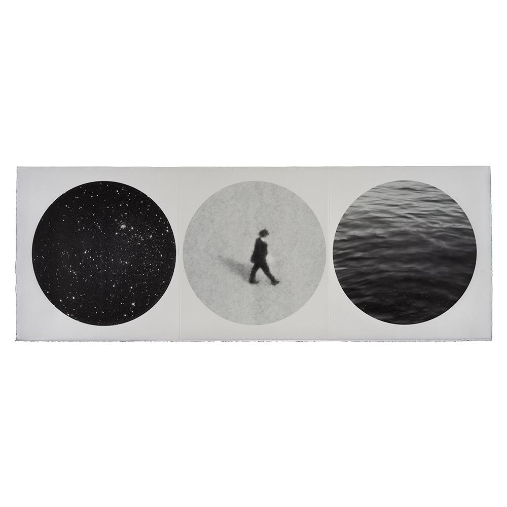 Marie Navarre - so we live here, forever taking leave (from Rilke), 2020, archival digital print on Surface Gampi, Rives BFK, 19.5 x 53 inches unframed