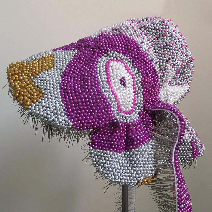 Angela Ellsworth - Chiaroveggente: As Above, So Below (33.487549, -112.073994), 2019, 15,696 pearl corsage pins, colored dress pins, fabric, steel, 46 x 12 x 15 inches