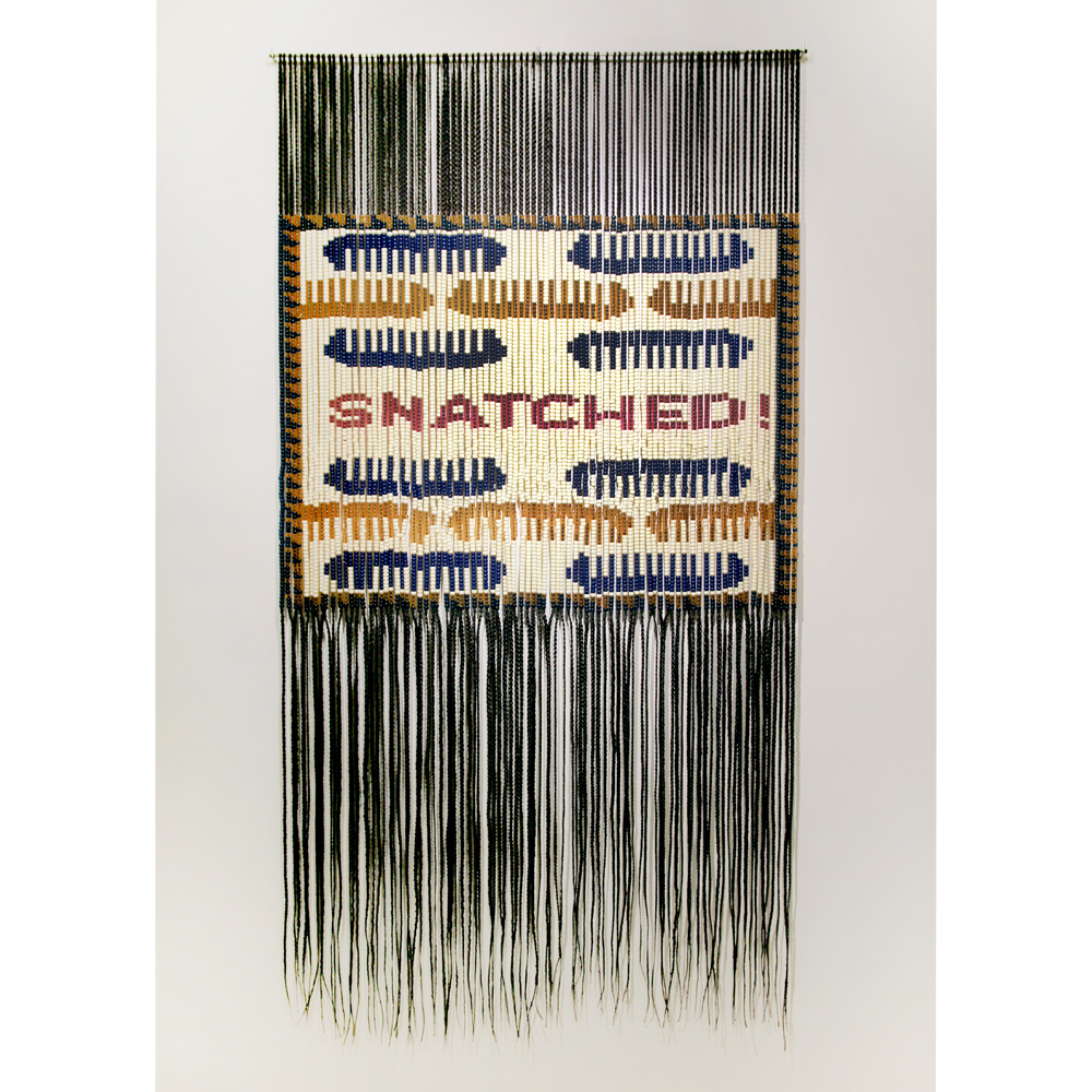 Merryn Omotayo Alaka - Snatched! (SOLD), 2021, pony beads, braided Kanekalon hair, 65 by 33 inches