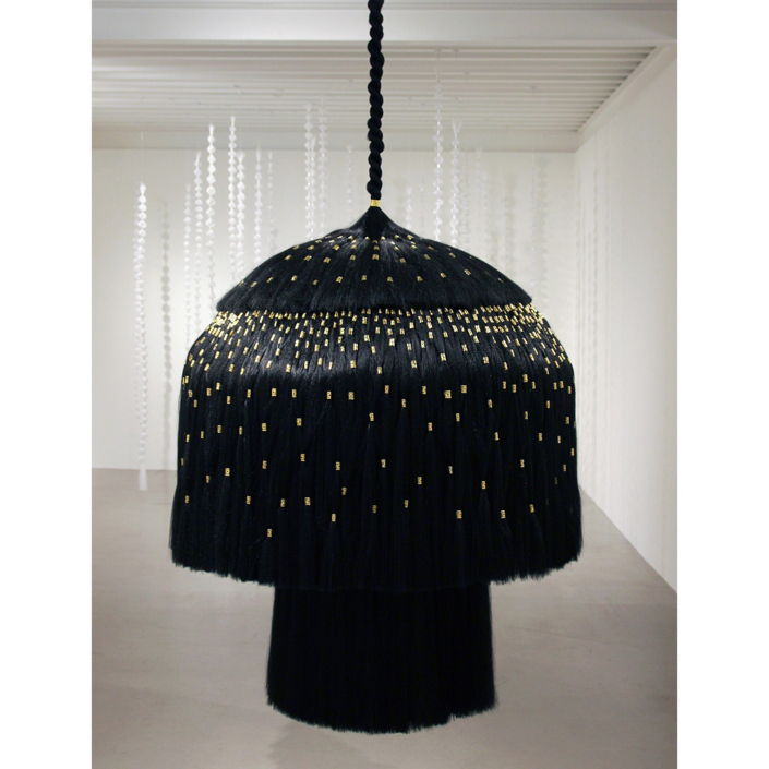 Merryn Omotayo Alaka & Sam Fresquez - Notorious W I G (SOLD), 2021, Kanekalon hair and braid clamps, steel, wire, 78 by 36 by 36 inches